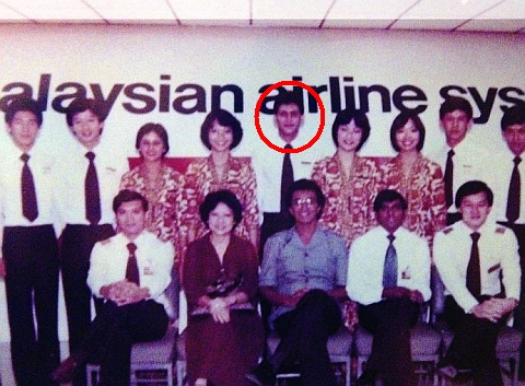 <b>Donning his Malaysian Airlines air steward uniform, a young Datuk Mohamad Salim Fateh Din (standing in the centre) among his other colleagues in this group photograph. </b>
