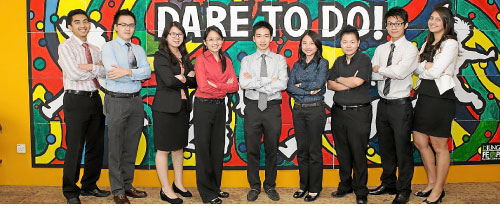 Interns at PwC under the Structured Internship Programme.