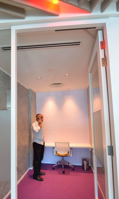 These cubicles lets Maxis employees get some privacy for confidential phone calls or work.