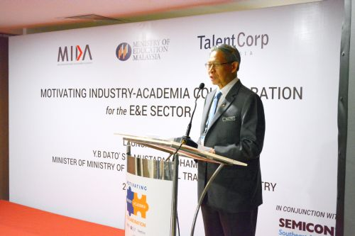 Mustapa giving the opening speech at the launch of TalentCorp's industry-academia collaboration.