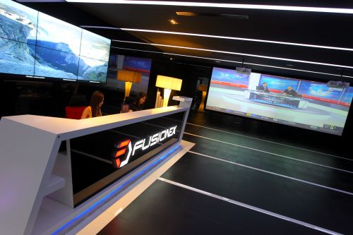 The Fusionex lobby houses a large projector screening area.