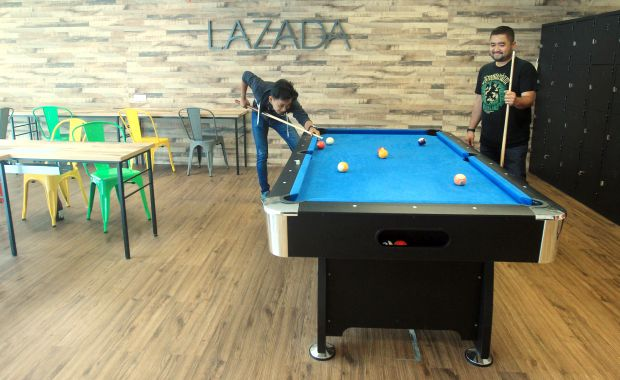 It's not uncommon to find employees taking a break with a game of pool.