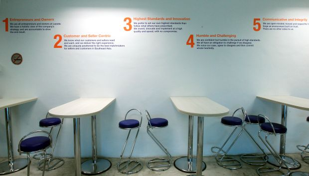 Company values are displayed stylishly at this discussion corner.