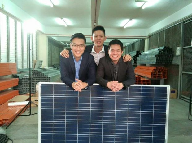 Ko (left) started Plus Solar Systems with trusted university and high school friends, university and high school friends, Poh Tyng Huei (middle) and Ryan Oh (right).