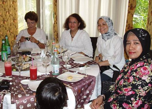 Tutu Dutta (second from left) with diplomats' wives and friends at a lunch function.